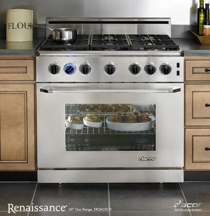 "Dacor ER36GSCHLP 36"" Renaissance Series Gas Freestanding Range with Sealed Burner Cooktop, 5.4 cu. ft. Primary Oven Capacity, in Stainless Steel"