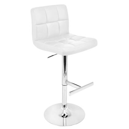 """LumiSource Lager BS-TW-LAGER 37"""" - 45"""" Barstool with 360-Degree Swivel, Tufted Cushions and Chrome Base in"""