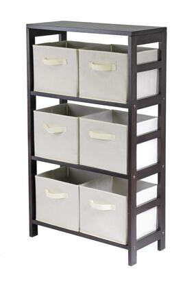 Winsome 92X51 Capri 3-Section M Storage Shelf with 6 Foldable Fabric Baskets