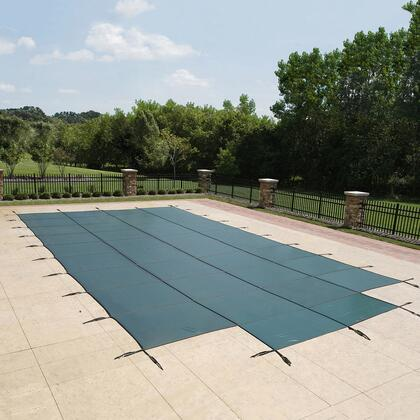 Artic Armor WSXXXGCENTER Green 12-Year Mesh Safety Cover For 00' x 00' Rectangular Pool With Center End Step in Green