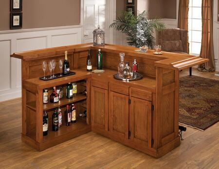 "Hillsdale Furniture 6257AX Classic 78"" Large Bar with 12 Wine Bottle Storage, Side Bar, Foot Rest, China Oak and Wood Veneer MDF Construction in"