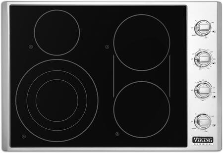 Viking VECU53 Electric Radiant Cooktop With Elements, QuickCook Surface Elements, Glass Ceramic Surface, Bridge Element, in Black Glass