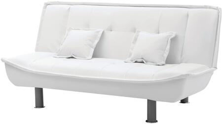 """Glory Furniture G600 Collection 74"""" Sofa Bed with Throw Pillows Included, Tufted Cushions, Polished Metal Legs and PU Leather Upholstery in"""