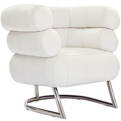 Modway EEI627WHI Michelin Series Leather Lounge with Metal Frame in White