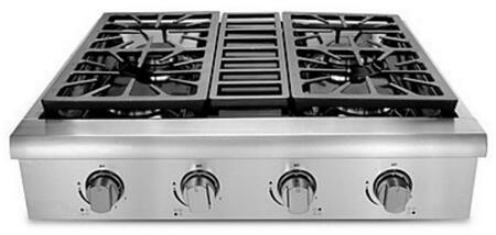 Hallman HRT3 Professional Gas Rangetop with Sealed Burners, Porcelain-Coated Drip Pans in Stainless Steel