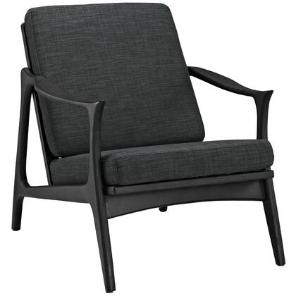 Modway EEI1447BLKGRY Pace Series Armchair Fabric Wood Frame Accent Chair