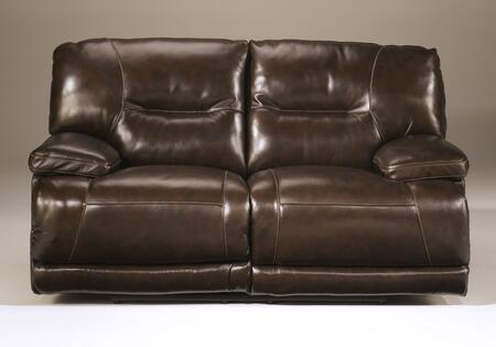 Signature Design by Ashley Exhilaration 42401LS Reclining X Loveseat with Top-Grain Leather Upholstery, Stitching Details and  Constructed with a Metal Drop-In Unitized Seat Box in Chocolate