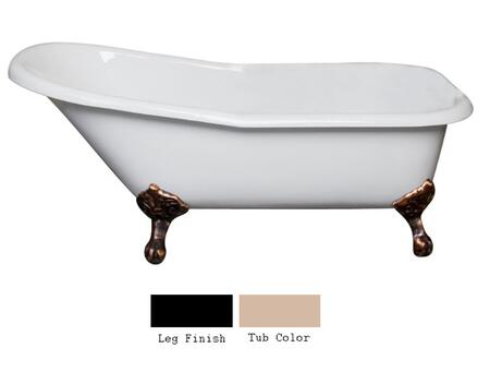"Barclay CTSN67IG 67"" Jennings Cast Iron Slipper Tub with Overflow and No Holes in"