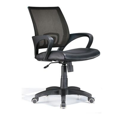 "LumiSource Officer OFC-OFFCR 36"" - 40"" Office Chair with Leatherette Upholstery, Mesh Backrest and Casters in"