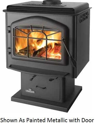 "Napoleon 1X00K1 Wood Stove Porcelain Enamel With Economical 6"" Flue, Non-Catalytic High Tech Design, Full Canopy Top & In Black"