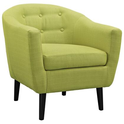 Modway EEI1389 Wit Armchair with Tapered Legs and Button Tufted, Stitching Detail and Fabric Upholstery in
