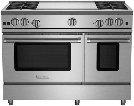 """BlueStar RNB484FTBV2 RNB Series 48"""" Freestanding Gas Range with 4 Cast Iron Open Burners, 4.5 Cu. Ft. Convection Oven, 24"""" French Top, Simmer Burner, Full Motion Grates and Stainless Steel Drip Trays"""