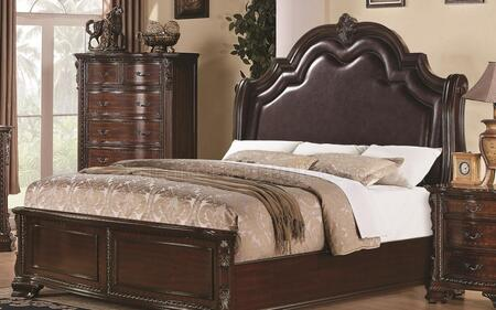 Coaster Maddison 202260 Platform Bed with Faux Leather Upholstered Headboard, Decorative Carving and Wood Construction in Cappuccino Finish