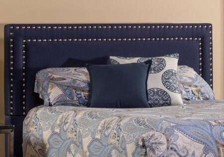 Hillsdale Furniture 1884H Davis Panel Headboard with Frame Included, Shiny Nail Heads, Pine Wood Construction and Fabric Upholstery in Navy Color