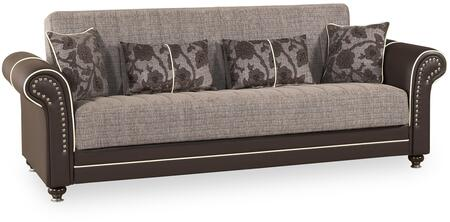 "Casamode Royal Home Collection ROYAL HOME SOFABED 95"" Sofa Bed with Rolled Arms, Nail Head Trim, Turned Bun Feet and Under Seat Storage in"