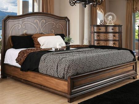Furniture of America Emmaline CM7831 Bed with Transitional Style, Wooden Headboard Designs, Laser Cut Drawer Panel Design, Felt-lined Top Drawers in Warm Chestnut