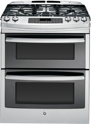 """GE PGS950xEF GE 30"""" Slide-In Double Oven Gas Range with 5 Sealed Burners, 6.8 Cu. Ft. Convection Oven, ADA Compliant, Sabbath Mode and Fit Guarantee"""
