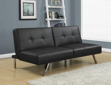 "Monarch I 893X 70"" Futon with Chrome Metal Feet, Adjustable Back and Tufted Detailing"