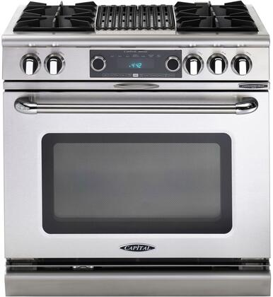 "Capital COB362B2L 36"" Connoisseurian Series Liquid Propane Freestanding Range with Open Burner Cooktop, 5.4 cu. ft. Primary Oven Capacity, in Stainless Steel"