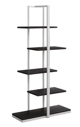 "Monarch I7260BKC 60"" Bookcase with 5 Fixed Zig-Zag Shelves and Metal Frame in"