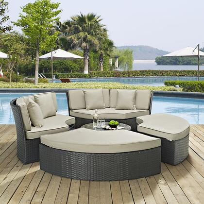 """Modway Sojourn EEI1984CHC 31"""" Outdoor Patio Sunbrella Daybed with Ottomans, Glass Top Coffee Table, Synthetic Rattan Weave, Powder Coated Aluminum Frame, UV and Water Resistant in Canvas Color"""