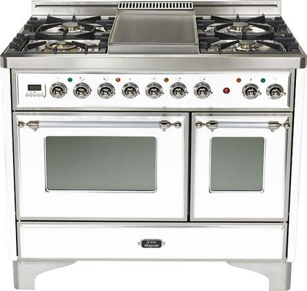 Ilve UMD100SMPBX  Dual Fuel Freestanding Range with Sealed Burner Cooktop, 2.44 cu. ft. Primary Oven Capacity, Warming in White