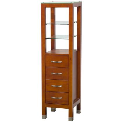 Wyndham Collection WCVKW045 Tavello Linen Tower with 2 Different Full Sets of Handles, Clear Glass Shelves and Four Drawers in