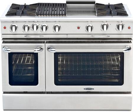 "Capital CGSR482BG2N 48"" Culinarian Series Gas Freestanding Range with Open Burner Cooktop, 4.6 cu. ft. Primary Oven Capacity, in Stainless Steel"