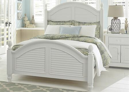 Liberty Furniture Summer House I Collection 607-BR-XPS Poster Bed with Louvered Panel Accents, Arched Crown Molding and Center Supported Slat System in Oyster White Finish