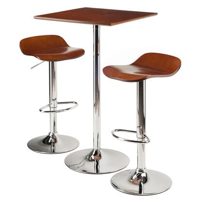 Winsome 933XX Kallie 3-Pc Set Pub Table with 2 Bar Height Stools in Cappuccino