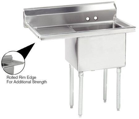 "Advance Tabco FE-1-2424 Lite Series One-Compartment Fabricated Sink with 24"" x 24"" Bowl and Backsplash in Stainless Steel"