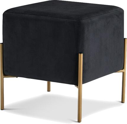 """Meridian Isla Collection 131XOTTO 16"""" Ottoman with Plush Velvet Upholstery, Gold Stainless Steel Legs and Contemporary Design in"""