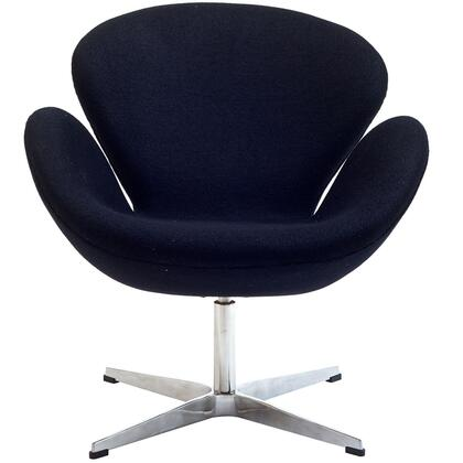 Modway EEI137BLK Wing Series Modern Fabric Metal Frame Accent Chair