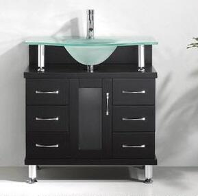 "Virtu USA Vincente 32"" MS-32-x-ES Single Sink Bathroom Vanity in Espresso Finish with x Countertop, 1 Doors with Concealed Soft Closing Hinges, 6 Doweled Drawers with Soft Closing Slides and Brushed Nickel"