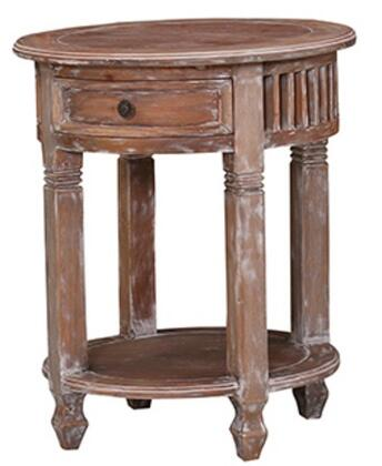 Bramble 21799 Provence Series Transitional Wood Round 1 Drawers End Table