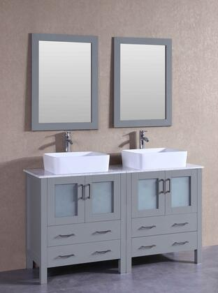 "Bosconi AGR230RCCMX XX"" Double Vanity with Carrara Marble Top, Rectangle White Ceramic Vessel Sink, F-S02 Faucet, Mirror, 4 Doors and X Drawers in Grey"