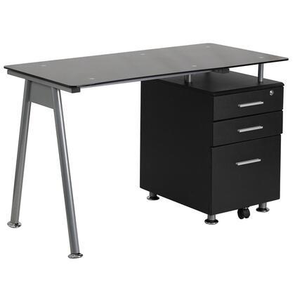 Three Drawer Glass Top Desk