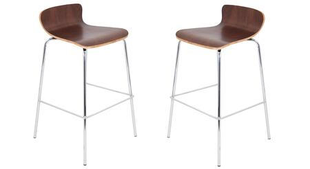 "LumiSource Woodstacker BS-STAKWD Set of (2) 35"" Stackable Barstool with Bent Wood Seat, Chrome Frame and Footrest in"