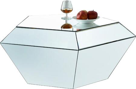 Meridian Ruby 246-TABLE Table with Mirrored Contemporary Design and Diamond Shape