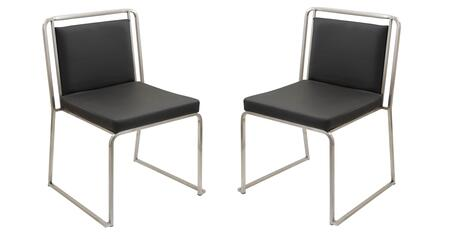 """LumiSource Cascade CH-CASC Set of (2) 33"""" Stackable Dining Chair with PU Leather Upholstery, Stainless Steel Frame And Stackable Design in"""