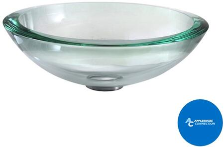 "Kraus CGV15019MM18CH Singletone Series 17"" Round Vessel Sink with 19-mm Tempered Glass Construction, Easy-to-Clean Polished Surface, Clear Glass, Chrome Finish"