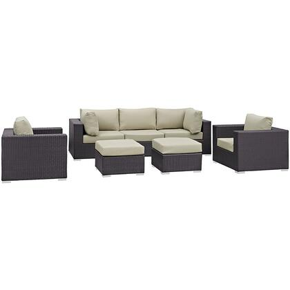 Modway Convene Collection EEI-2200- 7-Piece Outdoor Patio Sectional Set with Armless Section, 2 Armchairs, 2 Corner Sections and 2 Ottomans in Espresso and
