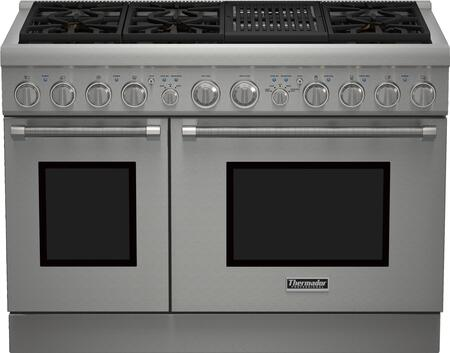 """Thermador PRx486NLH 48"""" Star K Certified PRO Harmony Professional Series Range with 6.7 cu. ft. Total Oven Capacity, 6 Star Burners, Liquid Propane Fuel and QuickClean Base, in Stainless Steel with"""