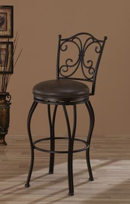American Heritage 111 Aurora Series Stool with Pepper Metallic Frame and Bonded Leather Upholstery in Coco