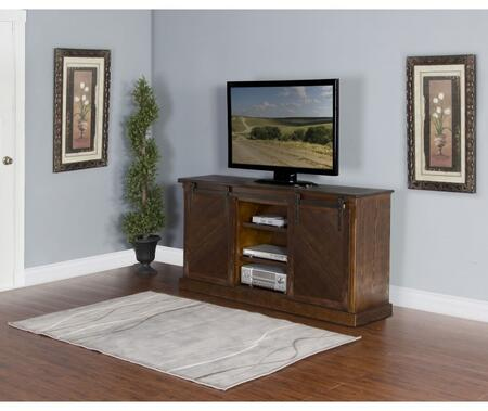 "Sunny Designs 3577X-S 65"" TV Console with Sliding Bard Doors, Slanted Panel and Adjustable Shelves in"