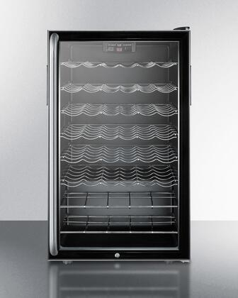 Summit SWC525L7BISHx Wine Cooler with 4.5 cu. ft. Capacity, Commercially Approved, Built In Capable, Automatic Defrost, Black Cabinet, Glass Door, Lock, Digital Thermostat, Scalloped Shelves, Interior Light, Reversible Door & CFC Free, in Black