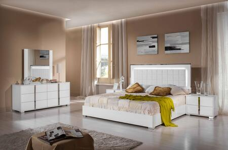 VIG Furniture VGACSANMARINOSET Modrest San Marino 5 PC Bedroom Set with Stainless Steel Frame, Tufted Eco-Leather Upholstery and LED Light in White
