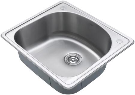 """Kraus KTM2 Premier Series 25"""" Topmount Single-Bowl Kitchen Sink with 18-Gauge Stainless Steel Construction, Sound Insulation, and Commercial-Grade Satin Finish"""