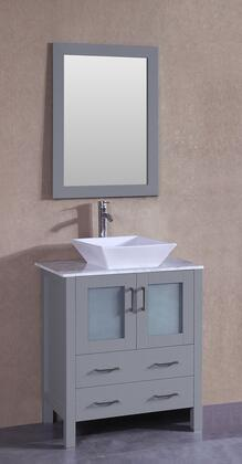 """Bosconi AGR130SQCMX XX"""" Single Vanity with Carrara Marble Top, Flared Square White Ceramic Vessel Sink, F-S02 Faucet, Mirror, 2 Doors and X Drawers in Grey"""