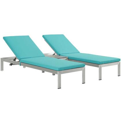 Modway Shore Collection EEI-2736-SLV- 3-Piece Outdoor Patio Chaise Set with Side Table and 2 Chaises in
